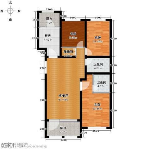 群力玫瑰湾3室1厅2卫1厨96.66㎡户型图