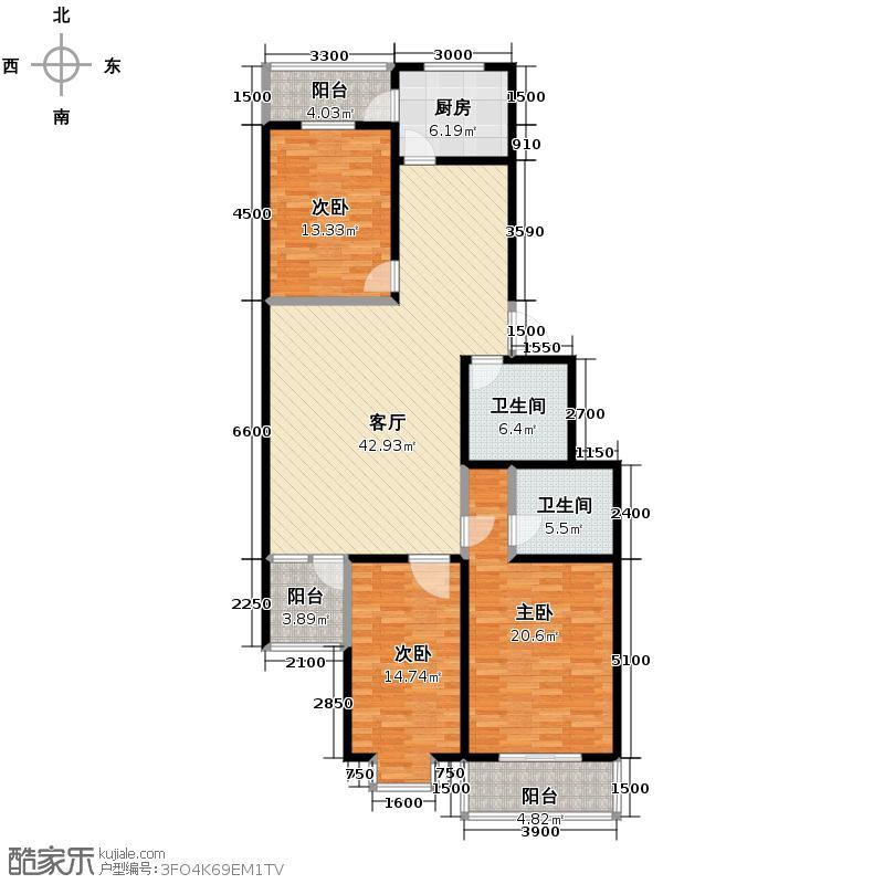 华峪东区154.25㎡4号楼e户型3室1厅2卫1厨