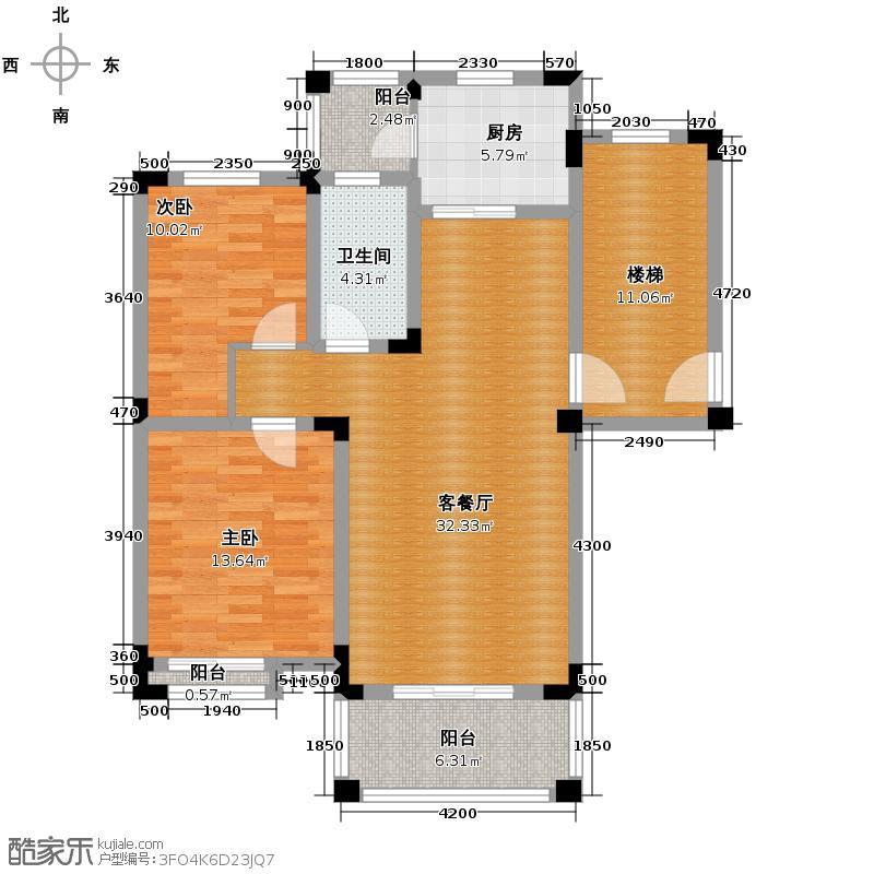 皇马花园100.25㎡户型2室1厅1卫1厨