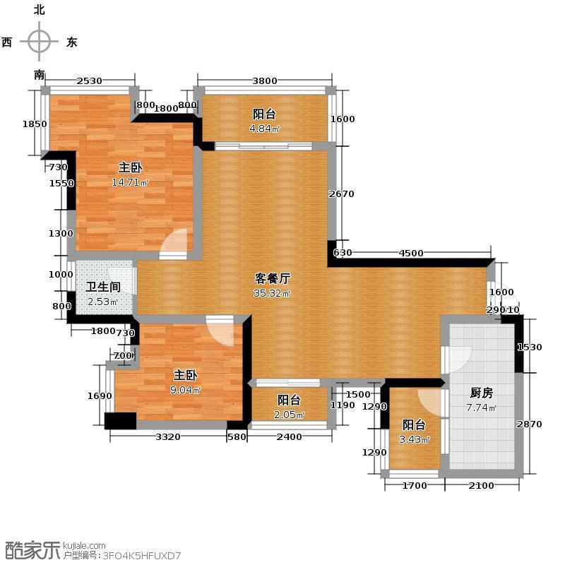 东原D7区101.19㎡图为C4/5号房户型2室2厅1卫