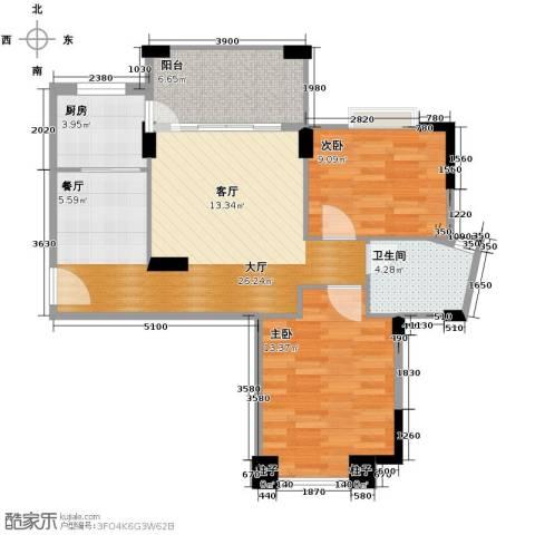 富盈山水华府别墅2室0厅1卫1厨85.00㎡户型图