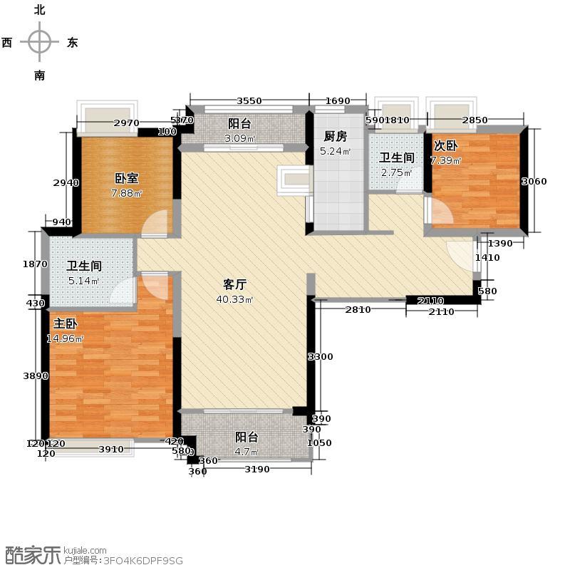 中海锦城125.00㎡一街1/2栋02单元户型3室2厅2卫