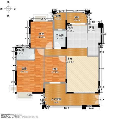 龙湾新城3室2厅2卫0厨130.00㎡户型图