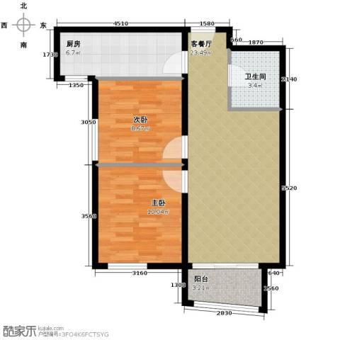 湾仔城2室1厅1卫1厨87.00㎡户型图