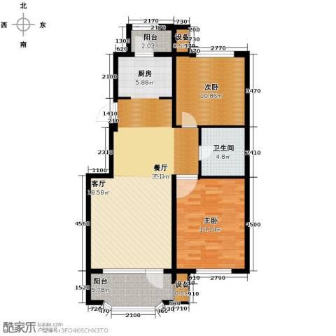 新湖青蓝国际2室2厅1卫0厨89.00㎡户型图