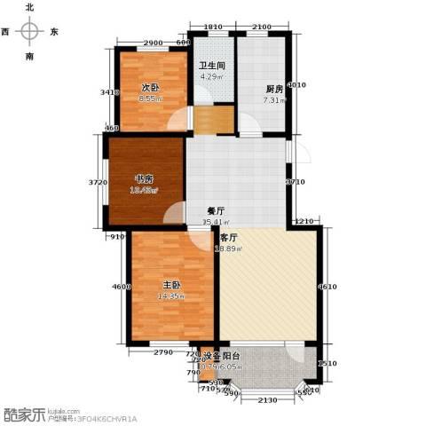 新湖青蓝国际3室2厅1卫0厨107.00㎡户型图