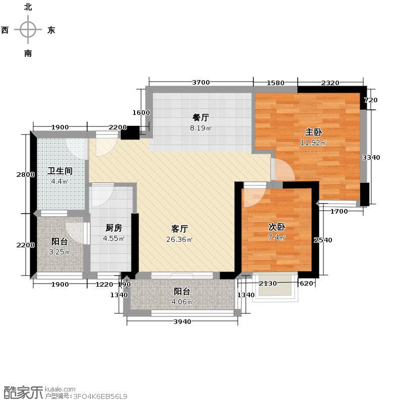 卓越蔚蓝城邦83.00㎡55栋1、2单元03/0户型2室1厅1卫1厨