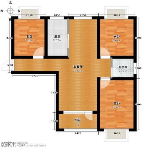 平谷蓝熙庭3室2厅1卫0厨92.00㎡户型图