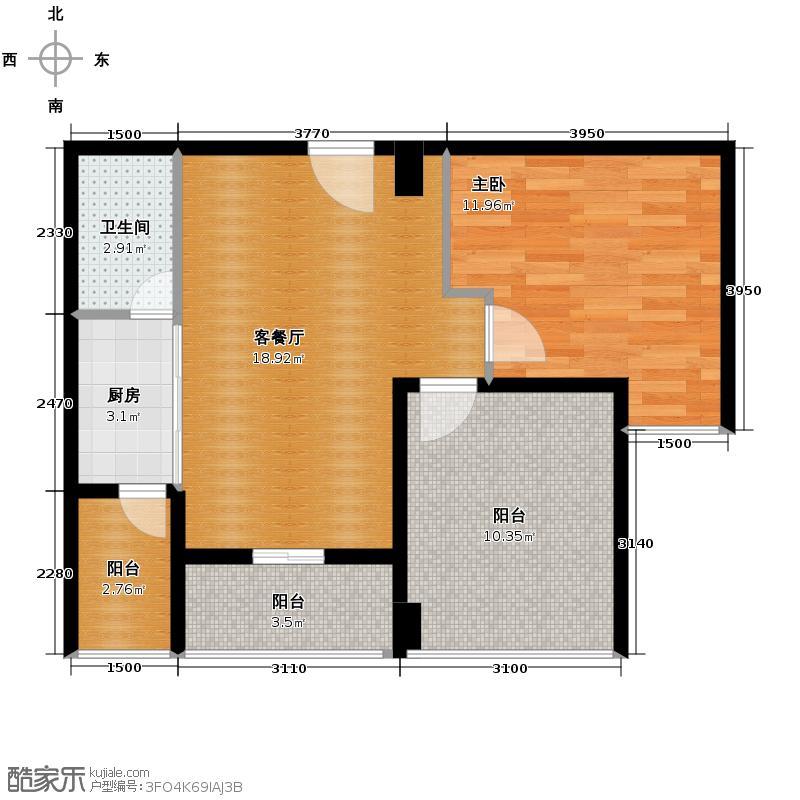 中信新城65.73㎡A3/A5\'户型1室1厅1卫