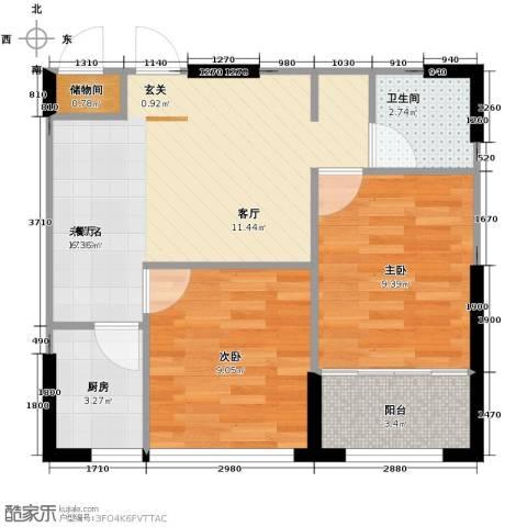 白领公寓2室2厅1卫0厨60.00㎡户型图