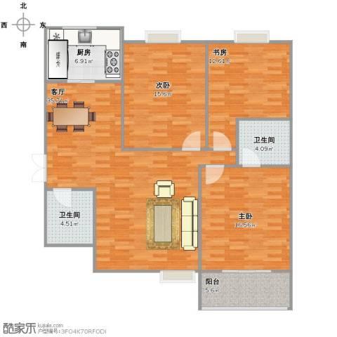 中铁・尚都城3室1厅2卫1厨136.00㎡户型图
