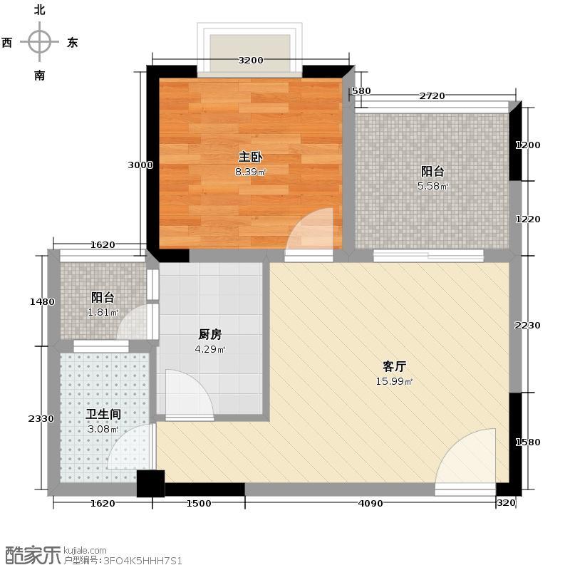 芸峰天梭派39.83㎡A1A2标准层5号房户型1室1厅1卫1厨