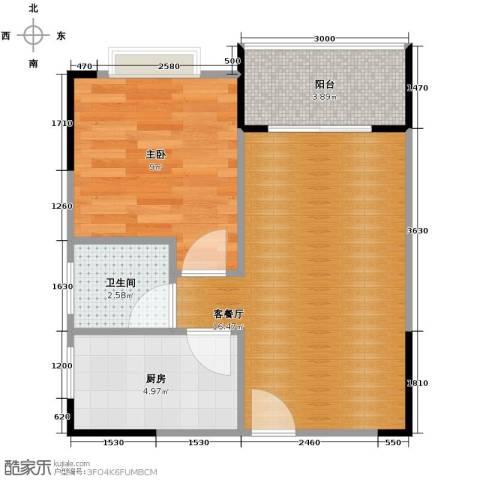 中惠香樟半岛1室2厅1卫0厨48.00㎡户型图