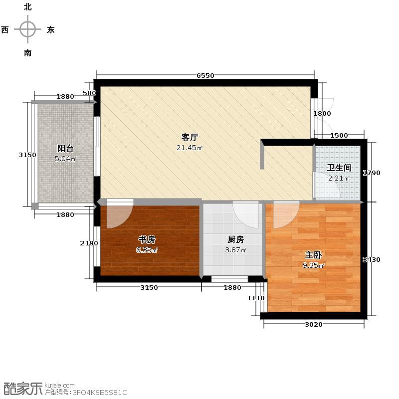 中环国际城50.69㎡2号楼B户型2室2厅1卫