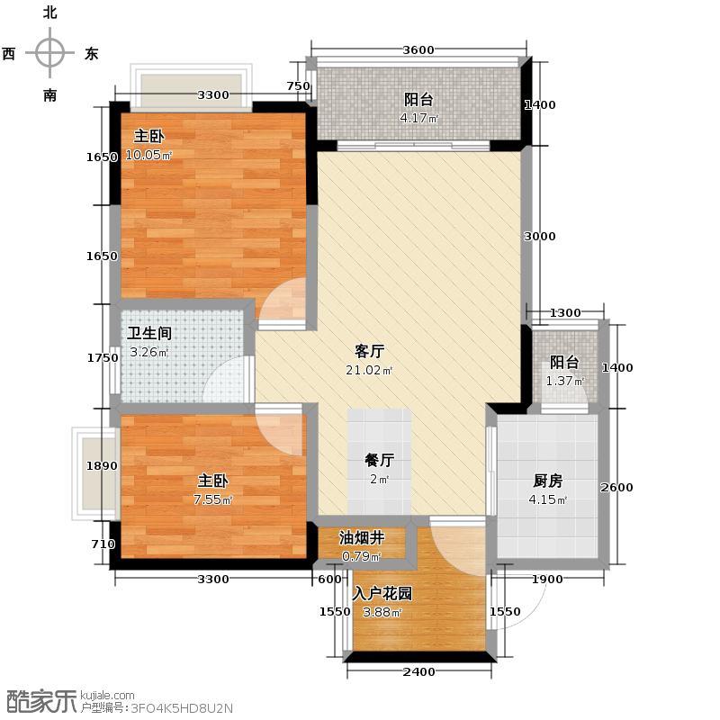 芸峰天梭派64.42㎡4号楼2/5号双阳台户型2室1厅1卫1厨