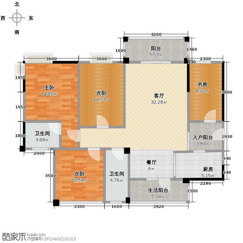 维也纳森林125.76㎡户型3室2厅2卫