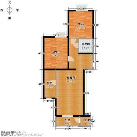 荷唐月舍2室1厅1卫1厨101.00㎡户型图