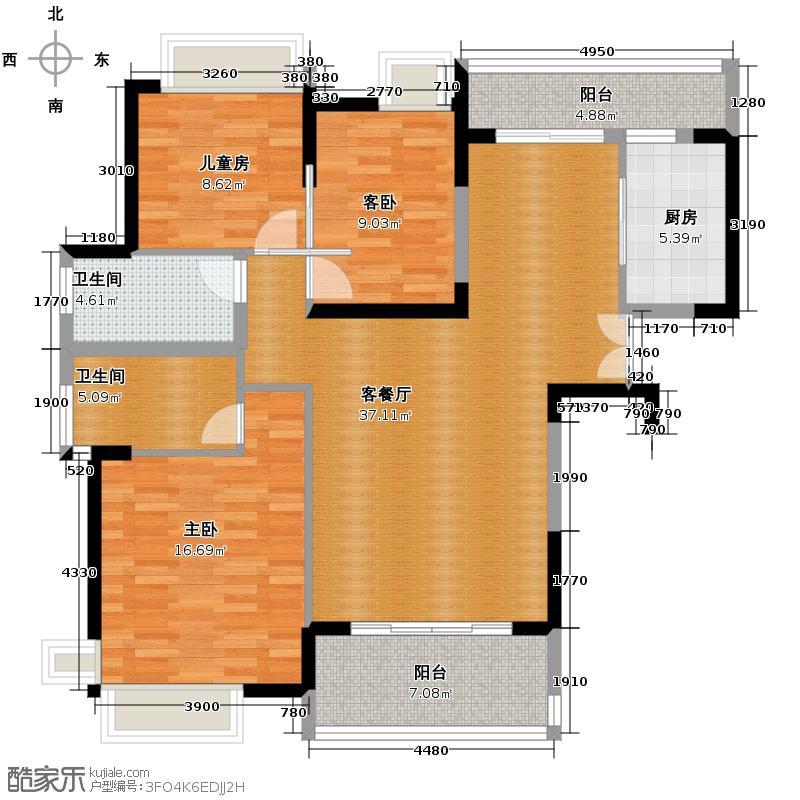 中惠�庭111.95㎡14栋0304单元标准层古典欧式3室户型3室1厅2卫1厨