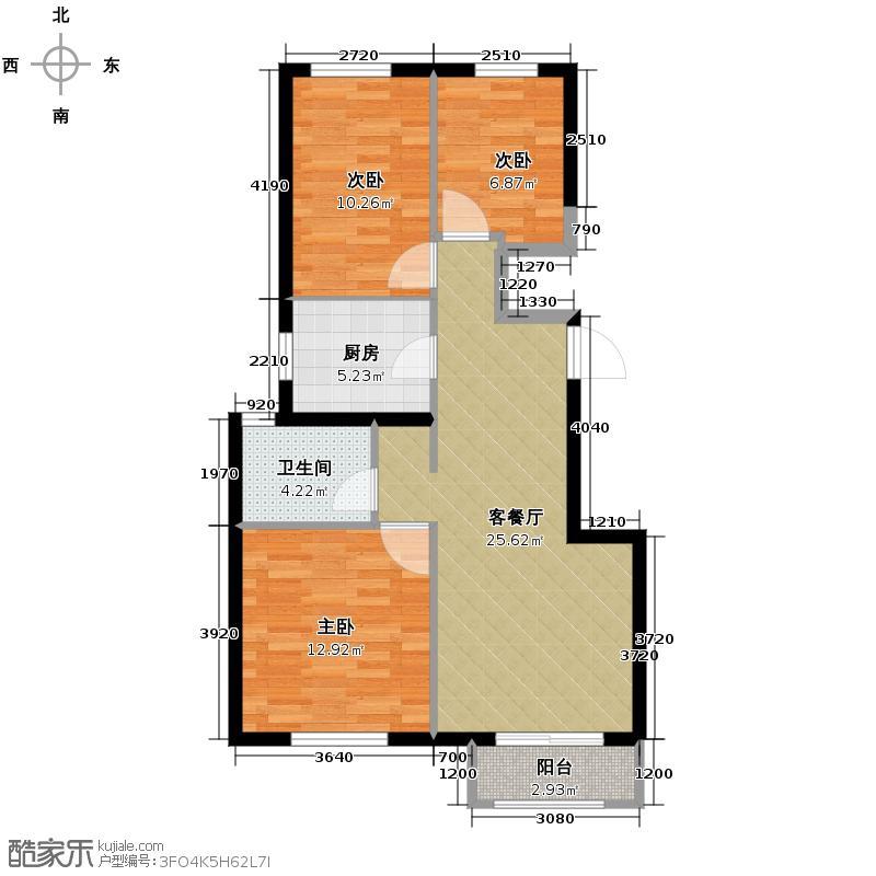 枫丹天城76.68㎡D1户型3室2厅1卫