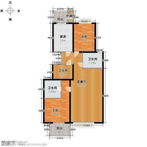 荷唐月舍2室1厅3卫1厨174.00㎡户型图