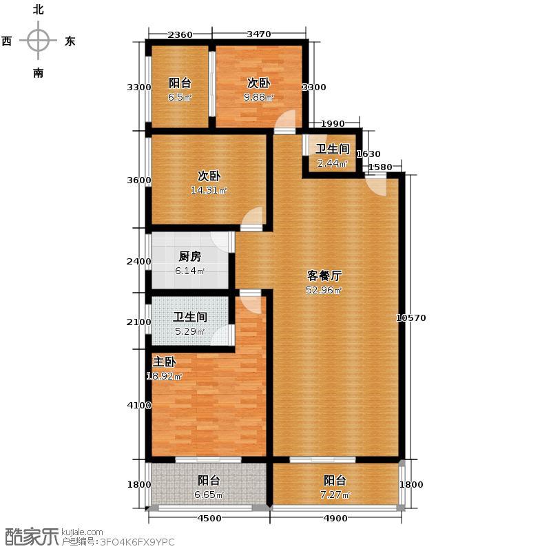 亨特国际148.27㎡户型3室1厅2卫1厨
