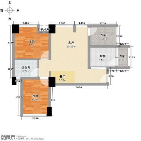 天地自由星城2室2厅1卫0厨76.00㎡户型图