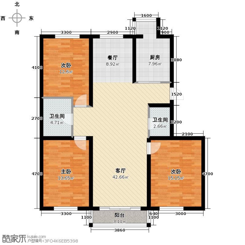 成涛绿锦国际132.73㎡小高层户型2室2厅1卫