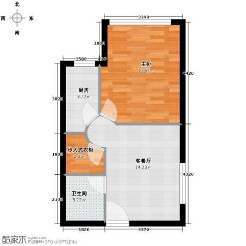 华豪丽晶1室1厅1卫1厨55.00㎡户型图