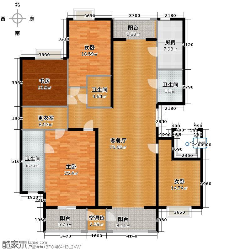 荷唐月舍206.67㎡1#楼01户型4室1厅3卫1厨