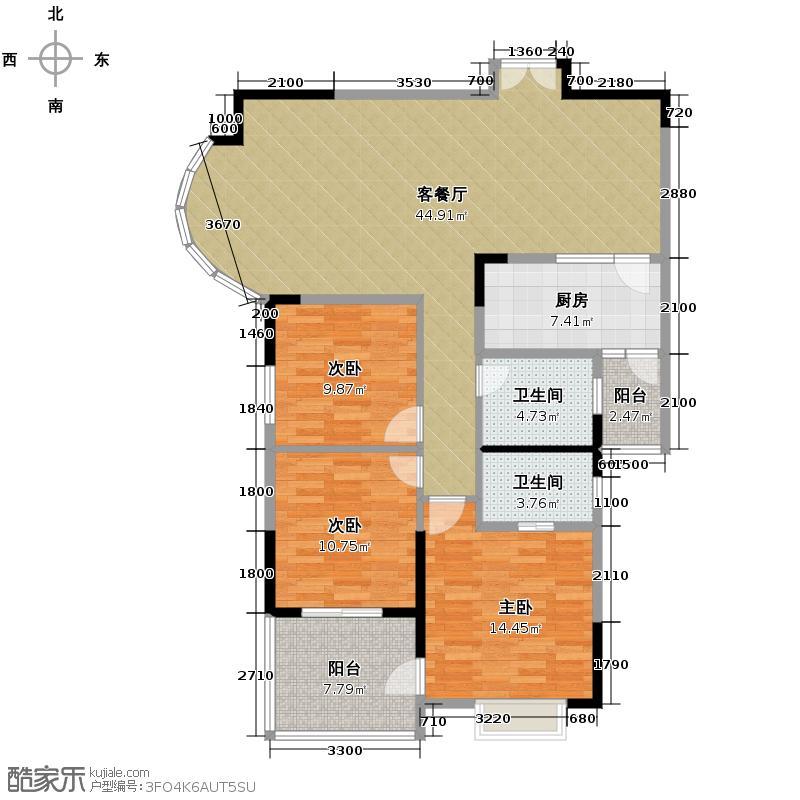 湘隆时代大公馆117.82㎡户型3室1厅2卫1厨