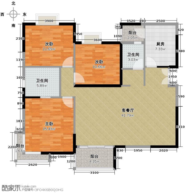 湘隆时代大公馆115.19㎡户型3室1厅2卫1厨