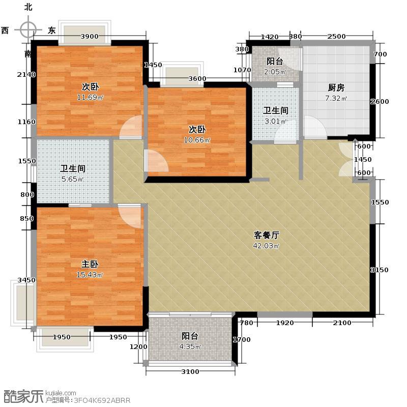湘隆时代大公馆112.63㎡户型3室1厅2卫1厨