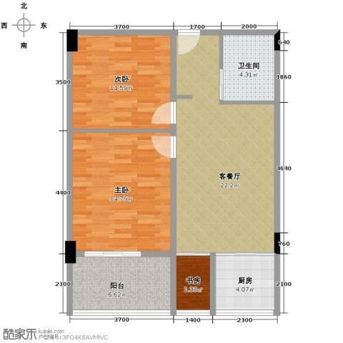 湘隆时代大公馆3室1厅1卫1厨88.00㎡户型图
