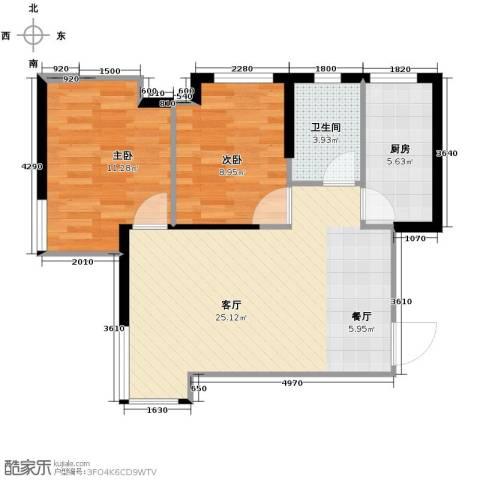 金地锦城2室1厅1卫1厨76.00㎡户型图