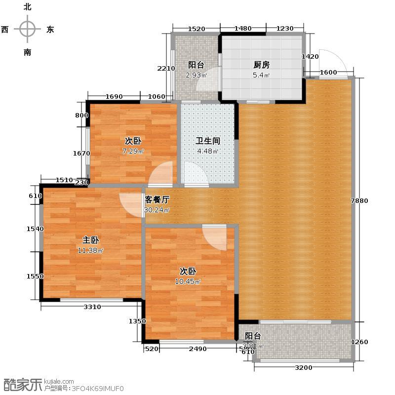 蓝光锦绣香江国际社区91.00㎡B3户型3室2厅1卫