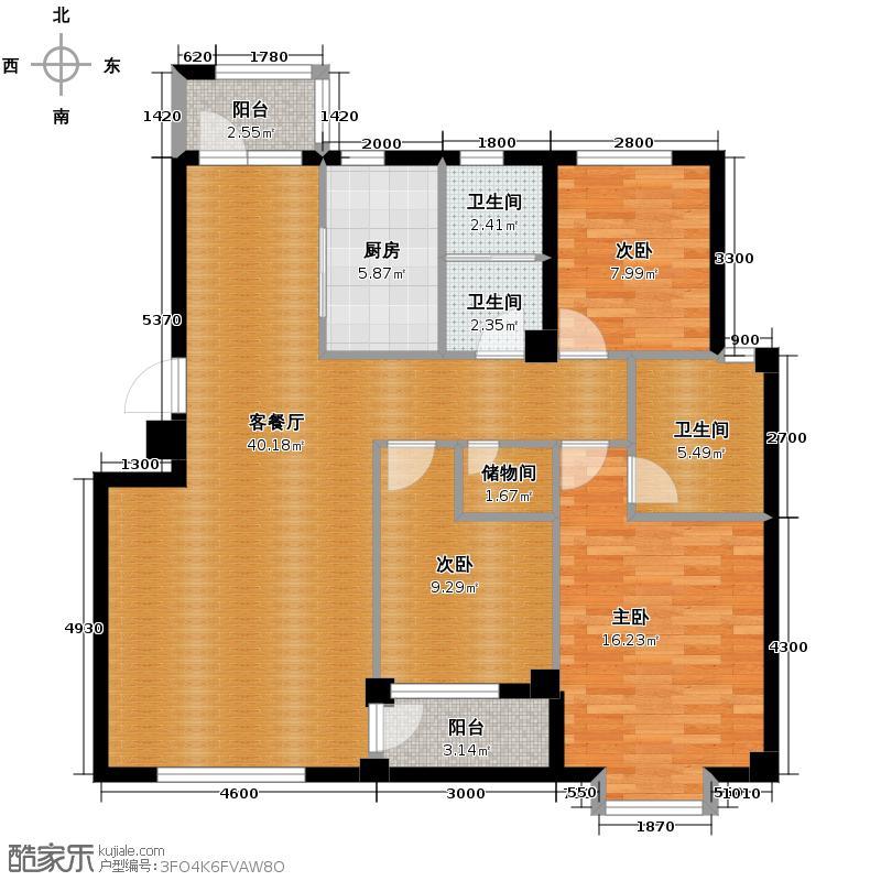 嘉恒国际109.84㎡户型3室1厅3卫1厨