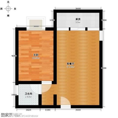 蓝山公馆1室1厅1卫1厨55.00㎡户型图