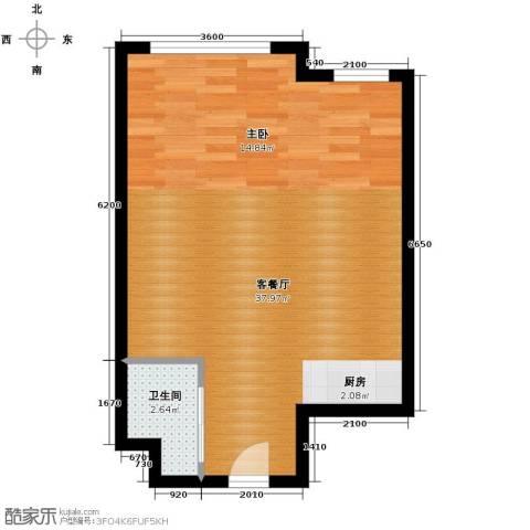 明翰国际1室1厅1卫0厨55.00㎡户型图