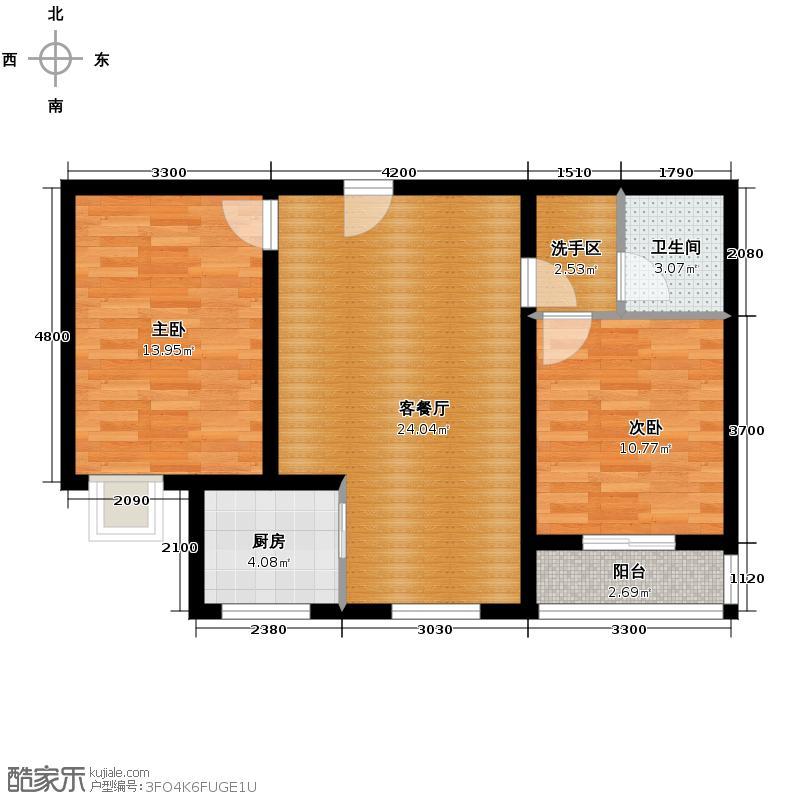 大盛魁文创园二期80.00㎡北区2#B户型2室2厅1卫