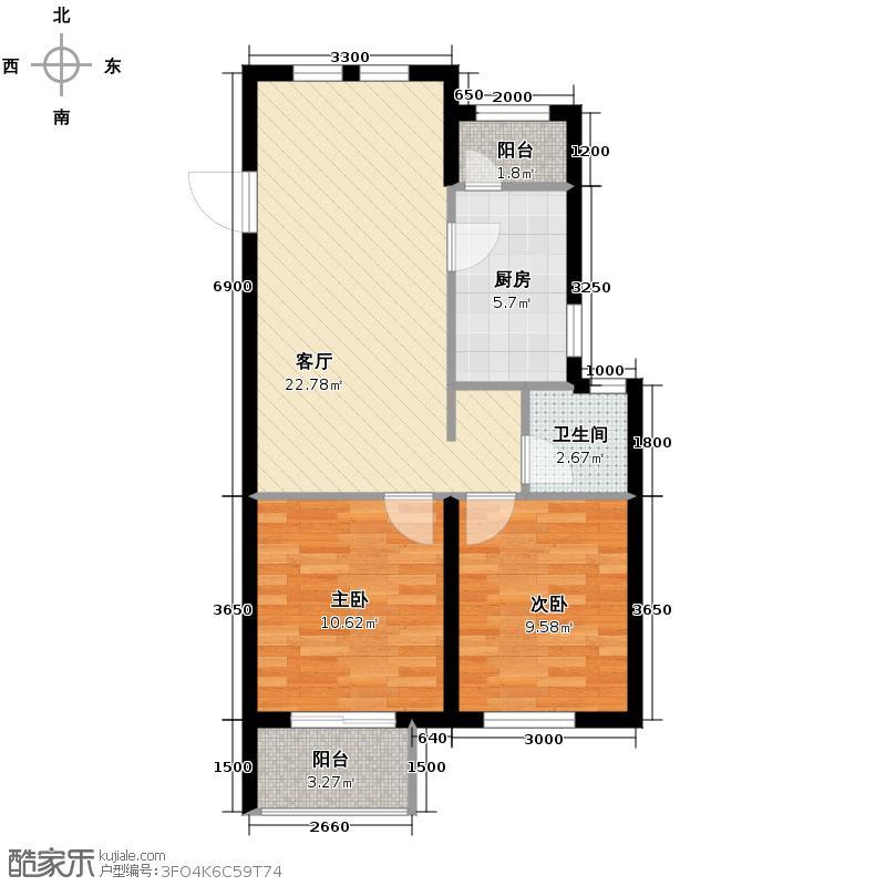 温泉国际79.87㎡F户型2室1厅1卫