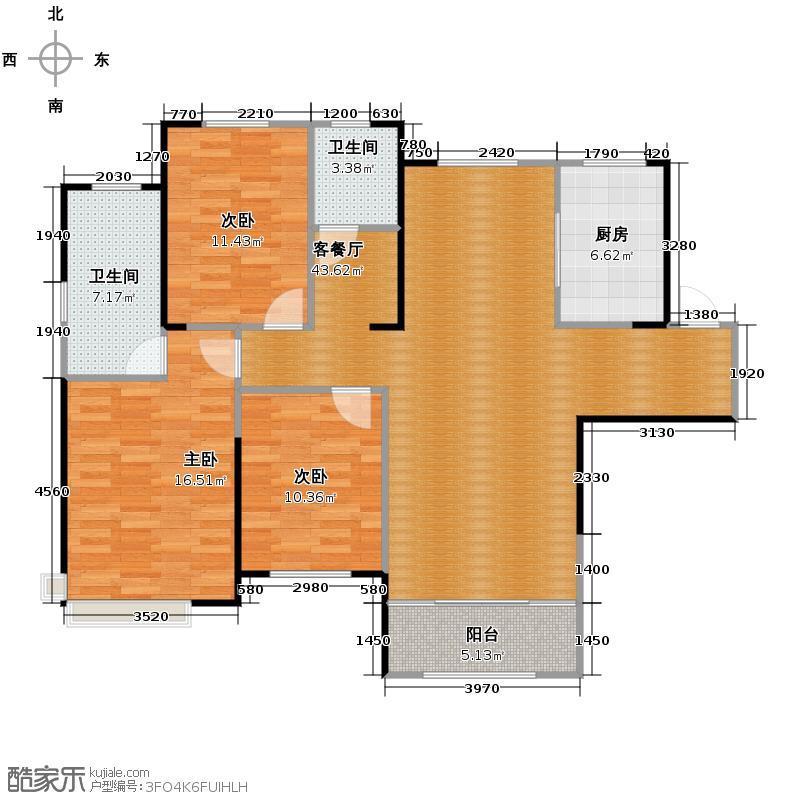 蓝石大溪地140.00㎡二期140小高层户型3室2厅2卫