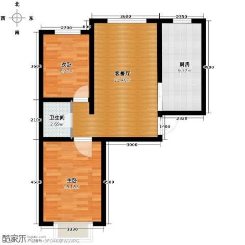 公元大道2室2厅1卫0厨74.00㎡户型图