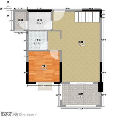 人信太子湾1室1厅1卫1厨89.00㎡户型图