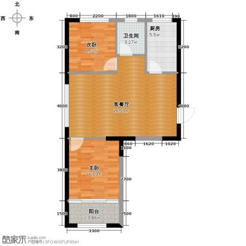 白领公寓2室2厅1卫0厨80.00㎡户型图