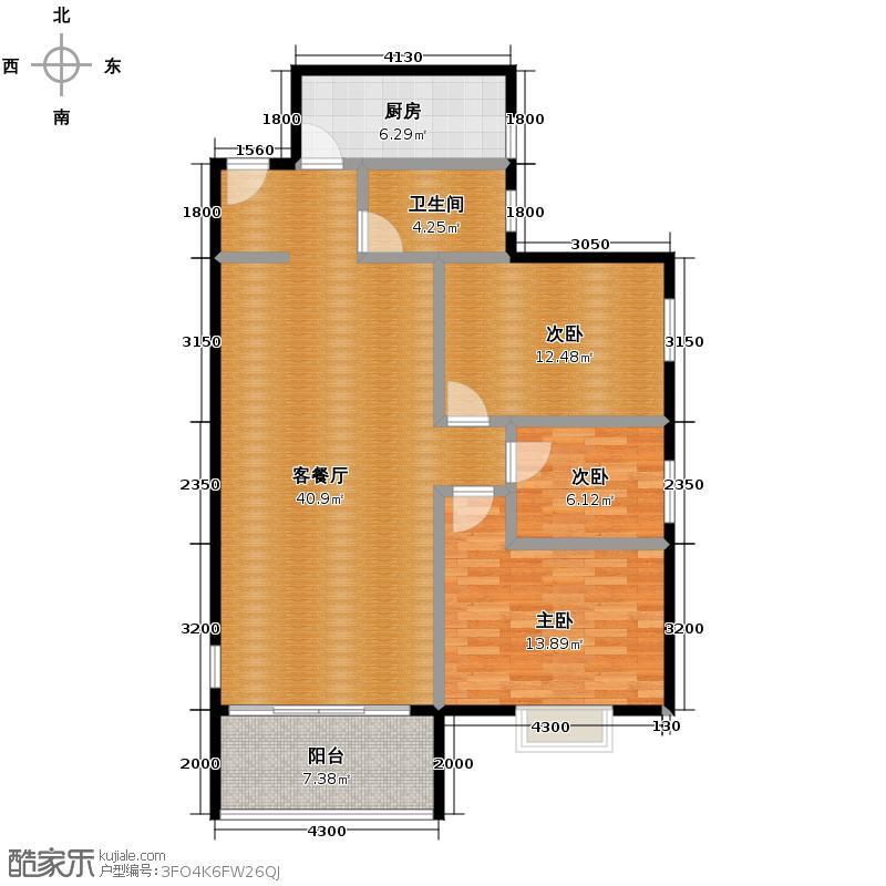 亨特国际102.23㎡户型3室1厅1卫1厨