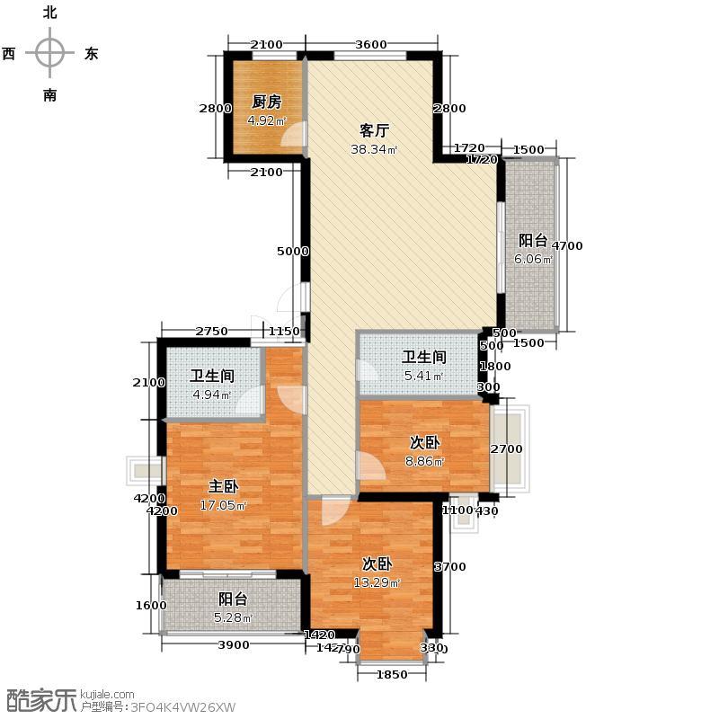 曼城129.10㎡C2户型3室1厅2卫1厨