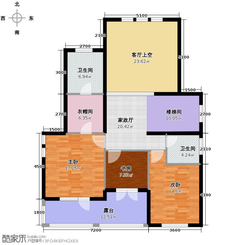 拉斐水岸93.93㎡11期A6-1二层户型10室