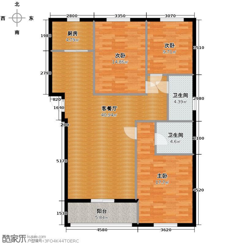汇锦城145.00㎡领秀城2#1单元E3室户型3室1厅2卫1厨