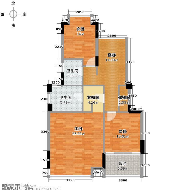 招商观园180.00㎡二期11栋A型复式上层户型4室2厅3卫