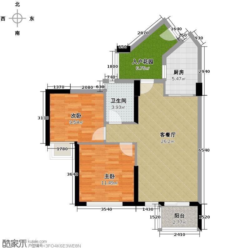 天御75.64㎡5号楼2-28层02、05号单位户型2室1厅1卫1厨